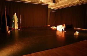 Maria med sina röstuttryck och Elin med sin kroppskontrollerade dans trollband publiken. Foto: Toli