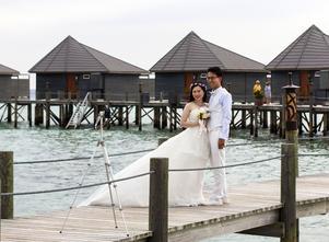 Maldiverna lockar många par.