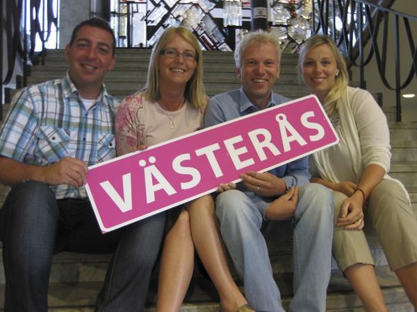 Gemensamt till val. Gruppledarna i Västeråsalliansen: Roger Haddad (FP), Elisabeth Unell (M), Lars Kallsäby (C) och Maria Lindelöf (KD).