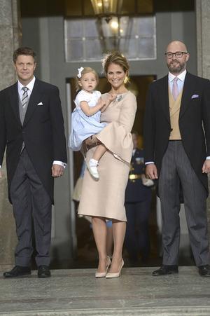 Prins Oscars fadder Hans Åström, Bollnäs, anlände till dopceremonin tillsammans med prinsessan Madeleine och Oscar Magnuson.