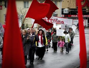 Slutmarscherat i Hällefors. I alla fall ska ingen första maj-marsch ske i år har S och LO-facken bestämt. Bilden är från första maj-marsch i Hällefors 2008. ARKIVBILD: BIRGITTA SKOGLUND