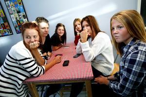 Tilde Ivarsson, Moa Martinsson, Elin Hirsch, Emily Claw, Emma Sundin och Hanna Svärdström tycker att kvarsittning är okej, men att porta elever från skolan är de mer tveksamma till.