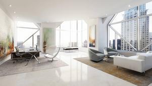En av de 3D-visualiserade miljöerna i en skyskrapa på Manhattan. De Ikea-bilder som FA Works jobbar med får vi inte publicera.