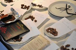 Stora variationer. Genom att prova kakaobönor från olika delar av världen, tillsammans med choklad gjord av bönorna, känner kursdeltagarna de stora variationerna.