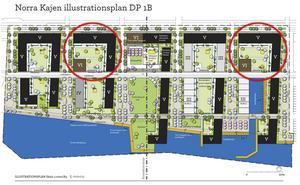 Det är i de inringade kvarteren som tillfälliga parkeringsplatser kommer att byggas.