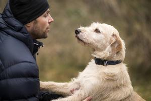 Mikael Lindnord med hunden Arthur som sitter i karantän.