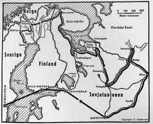 Karta ur Rudfalks bok, som visar hur han färdats mellan 1943-1947. Hur han och hans kamrat Odd Willasen tog sig in i Ryssland och sedan hur Ragnar förflyttats mellan olika läger de tre åren därpå. Det sista året arbetade han som vanlig sovjetmedborgare innan han via Moskva och Helsingfors tog sig till Stockholm.