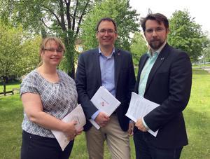 Christiane Rüdiger (V), Peder Björk (S) och Hans Forsberg (C) släpper den nya budgeten.
