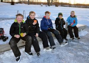 Fikapaus i skridskoåkningen. Anton Andersson, 8 år, Ville Evjen, 10, John Andersson, 11, Elton Evjen, 6 och Theo Evjen, 12.