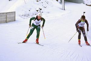 Johanna Nordqvist från hemmaföreningen I 21 knep en andraplats i sprinten efter fint skytte.