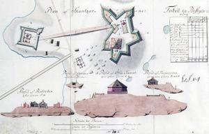 Skissen, gjord av E G Cronstedt 1744, visar tydligt den nedre skansens placering, ett 15-tal meter från Järpströmmens norra strand.  Foto: Ur krigsarkivet