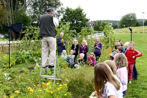 Goda exempel på miljöarbete på det lokala planet. Vid Vallens skola, Kovland, fångar den brittiske fotografen Chris Steele-Perkins några barn ur klass 2 och den miljöengagerade rektorn Lena Henriksson mitt i skolans blom- och grönsaksodling.