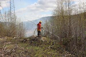 Den traktorväg som går under kraftledningen stoppade upp elden så att gräsbranden vid Flogsta inte hann utvecklas till en skogsbrand.