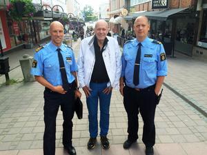 Polisen ska bli mer synlig i city lovar Thomas Nyberg, Fred Nilsson och Andreas Dahlnbom.