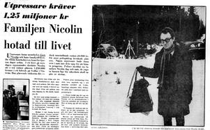 Utpressningsförsök mot Asea-chefen Curt Nicolin. VLT 26 januari 1973. Polisnotarie Lennart Roigart med en väska med pengar.