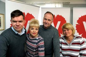 NY PARTILEDNING. Från vänster: Aron Etzler, partisekreterare, Josefin Brink, 2:a vice ordförande, Jonas Sjöstedt, partiledare och Ulla Andersson, 1:a vice ordförande.