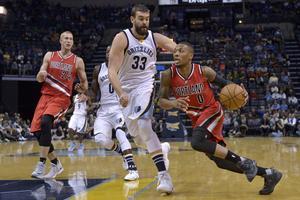 Portland-guarden Damian Lillard (0) mot Memphis Grizzlies Marc Gasol (33). NBA-stjärnan Lillard är en av de bästa spelarna Ronnie Boggs spelat mot.
