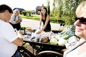 Sara Eriksson hjälpte mamman och mormor att sälja ekologiskt odlade varor som vitkål, morötter, lök kålrötter med mera.