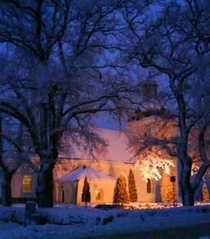 så vacker var Skultuna kyrka i skymningen den 14/1 2010