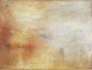 "Turner.  ""Sun setting over a lake""."
