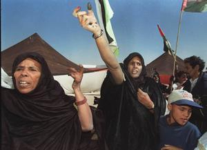 En grupp västsahariska kvinnor som befinner sig i ett flyktingläger i Algeriet protesterar mot Marockos ockupation av Västsahara.