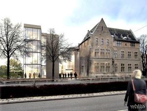 I den nya entrén av glas och stål blir det ett kundtorg, som även kan utnyttjas av konsthallen till utställningar. En tänkbar invigning kan vara runt årsskiftet 2011–2012.