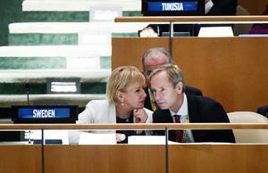 Utrikesminister Margot Wallström och FN-ambassadören Olof Skoog i FN:s generalförsamling under tisdagens omröstning.