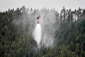 En helikopter samlar vatten i sjön Grötingen för att bekämpa skogsbranden på Grötingenberget i Bräcke kommun. Foto: Robert Henriksson / TT