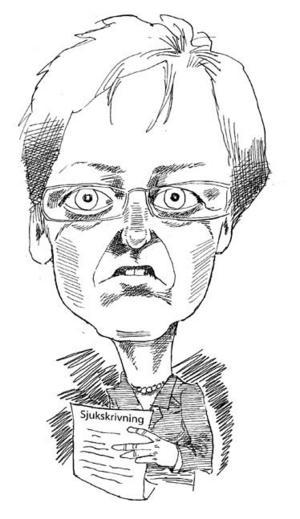Christina Husmark Persson, socialförsäkringsminister. Illustration: Kjell Nilsson-Mäki