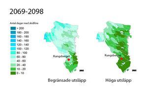 Bilden som är ett montage visar SMHI:s framtidsscenario för Gävleborg under perioden 2069-2098. Kartan till vänster visar framtidens snöläge vid effektiva insatser mot växthusutsläppen. Till höger syns vad som händer om nuvarande utsläpp fortgår.