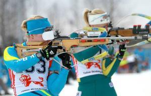Starkt skytte bäddade för Elin Mattsson, som tog segern före Mona Brorsson och Jenny Jonsson (t.h.).