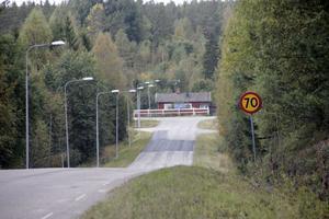 Så här ser det ut vid Folkets hus i Tallåsen. Det blir 70 km nedför backen men det är 80 km från andra hållet.