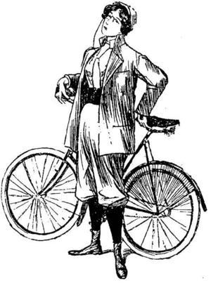 Maggie Ohlson väckte stor sensation när hon tog silvermedalj i cykelloppet mellan Uppsala och Gävle 1892. Hon åkte i tröja, byxor och mössa, men var nog inte lika elegant  som damen på den här gamla teckningen.