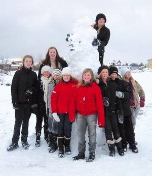 VINNARNA. Från vänster: Maria Swing, Alva Vikström, Lina Broman, Julia Granström, Elin Andersson, Lina Johansson, Frida Åhlén, Malin Andersson, Therese Forsblom och på toppen Anna Andersson.