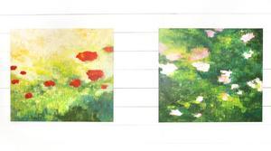 Jonna Jakobssons båda målningar Valllmo och Mormors ros.