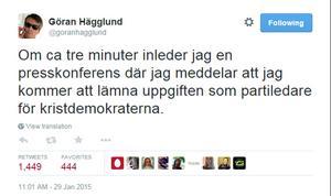 Göran Hägglund meddelar sin avgång på Twitter.