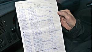 Sedan februari 1980 för Stefan Lanehed anteckningar över vad han betalar för bensinen.