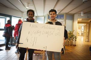 Protester på Primrose mot nedläggningshot tidigare i höstas.  Samson Terie och Mohamad Abn Rached.