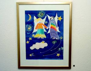 Sidenmålning av Ragnhild Möller: