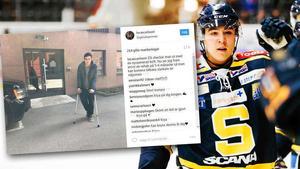 Bild som Lucas Carlsson lade ut på Instagram efter operationen den 27 april.