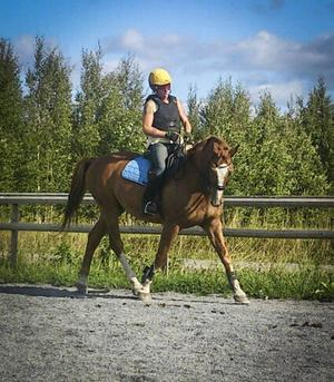 Aina Arvidsson på sin häst Amante.   Foto: Privat
