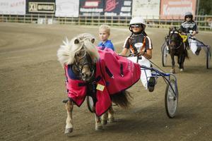Cajsa Buhlér vann med Vitamin vid två tillfällen under söndagen. Här åker tränaren Albin Hellgren med till stallbacken efter den första segern.