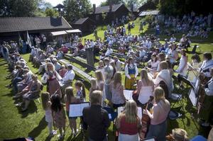 Samling i solen. Många Smedjebacksbor träffades vid Norrbärke hembygdsgård för att fira Sveriges nationaldag tillsammans.