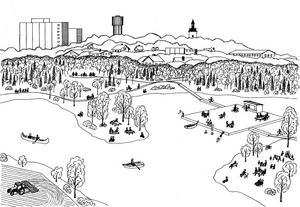 En idé om framtiden för Järnadammen med Picknickudden i centrum – framtagen av Julie Christensen och Benjamin Boardman.