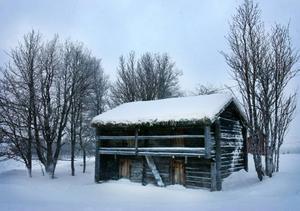 """Det här kan vara den äldsta byggnaden i Högvålen. Härbret sägs vara från 1700-talet och ligger på Hugo Dahls gård.""""Min mormor bodde i det huset"""" säger Hugo."""