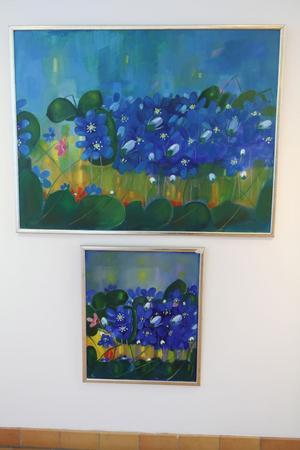 Blåsippor. Oljemålningar av Olle Gustafsson.