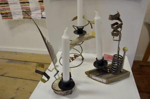Ljusstakar. Konsthantverkare Ingrid Fries Hansson återbrukar material.