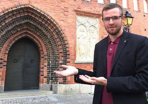 Victor Gunstedt, 23 år, är toppnamnet för Frimodig kyrka. Han är ungdomsledare och bor på Skälby.