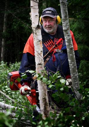 Tekniska nämndens ordförande Sören Finnström var i somras själv ute och röjde. Nu hoppas han att man kan få till ett projekt tillsammans med Arbetsförmedlingen och att staten således kan vara med och delvis betala för slyröjning.