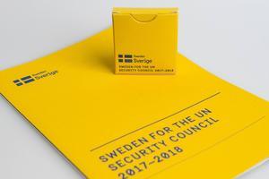 Kampanjmaterial för ett svenskt medlemsskap i FN:s säkerhetsråd.